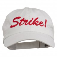 Bowling Strike Embroidered Low Profile Washed Cap - White