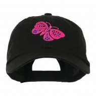 Two Colored Butterfly Embroidered Cap - Black