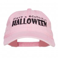 Have A Bootiful Halloween Embroidered Washed Cap - Pink