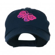 Two Colored Butterfly Embroidered Cap - Navy