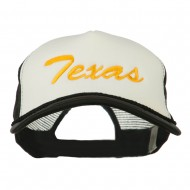 Big Size Mid State Texas Embroidered Foam Mesh Cap - White Black
