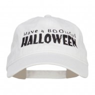 Have A Bootiful Halloween Embroidered Washed Cap - White