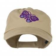 Two Colored Butterfly Embroidered Cap - Khaki