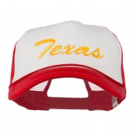 Big Size Mid State Texas Embroidered Foam Mesh Cap - White Red