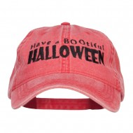 Have A Bootiful Halloween Embroidered Washed Cap - Red