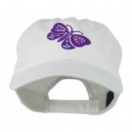 Two Colored Butterfly Embroidered Cap - White