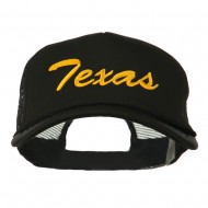 Big Size Mid State Texas Embroidered Foam Mesh Cap - Black