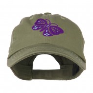 Two Colored Butterfly Embroidered Cap - Olive