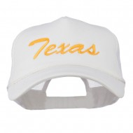 Big Size Mid State Texas Embroidered Foam Mesh Cap - White