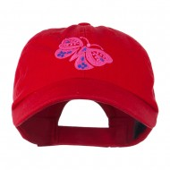 Two Colored Butterfly Embroidered Cap - Red