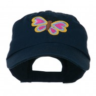 Butterfly Embroidered Cap - Navy