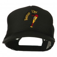 Youth Batter Up Embroidered Mesh Cap - Black