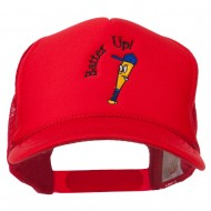 Youth Batter Up Embroidered Mesh Cap - Red