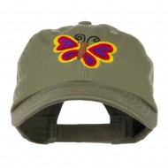 Butterfly Embroidered Cap - Olive