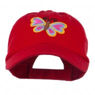 Butterfly Embroidered Cap - Red