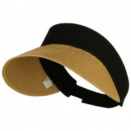 UPF 50+ Canvas Crown Paper Braid Visor - Black