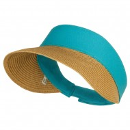 UPF 50+ Canvas Crown Paper Braid Visor - Turquoise