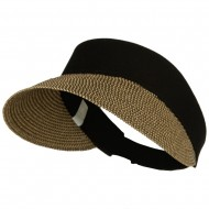 UPF 50+ Canvas Crown Paper Braid Visor - Black Tweed