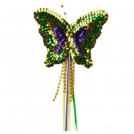Sequin Mardi Gras Butterfly Wand - Green Yellow Purple