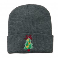 Christmas Tree Hearts Bow Embroidered Beanie - Grey