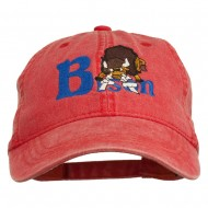 Bison Mascots Embroidered Washed Cap - Red