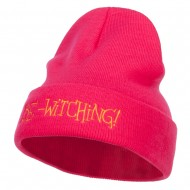 Be Witching Embroidered Long Beanie - Magenta