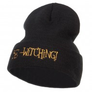 Be Witching Embroidered Long Beanie - Black