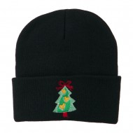 Christmas Tree Hearts Bow Embroidered Beanie - Navy