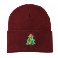 Christmas Tree Hearts Bow Embroidered Beanie - Maroon
