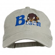 Bison Mascots Embroidered Washed Cap - Stone