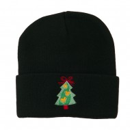 Christmas Tree Hearts Bow Embroidered Beanie - Black