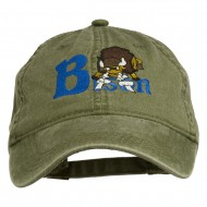 Bison Mascots Embroidered Washed Cap - Olive Green