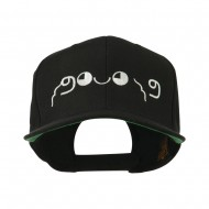 Japanese Boxing Face Emoticon Embroidered Snapback Cap - Black