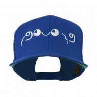 Japanese Boxing Face Emoticon Embroidered Snapback Cap - Royal