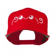 Japanese Boxing Face Emoticon Embroidered Snapback Cap - Red