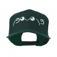 Japanese Boxing Face Emoticon Embroidered Snapback Cap - Spruce