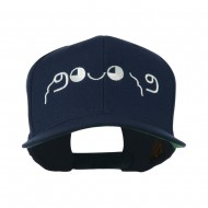 Japanese Boxing Face Emoticon Embroidered Snapback Cap - Navy