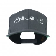 Japanese Boxing Face Emoticon Embroidered Snapback Cap - Grey