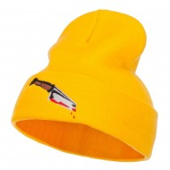Bloody Knife Embroidered Long Beanie - Yellow