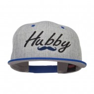 Hubby Mustache Embroidered Flat Bill Snapback - Royal Grey