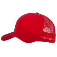 Big Size Solid Cotton Twill High Profile Mesh Pro Style Cap - Red