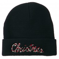 Christmas Embroidered Long Cuff Beanie - Black