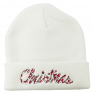 Christmas Embroidered Long Cuff Beanie - White