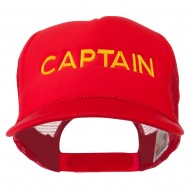 Youth Captain Embroidered Foam Mesh Back Cap - Red