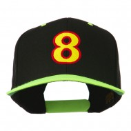 Arial Number 8 Embroidered Classic Two Tone Cap - Neon Yellow
