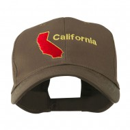 California Image with Wording Embroidered Cap - Brown