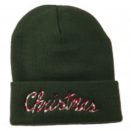 Christmas Embroidered Long Cuff Beanie - Olive