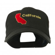California Image with Wording Embroidered Cap - Black