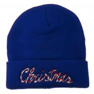 Christmas Embroidered Long Cuff Beanie - Royal