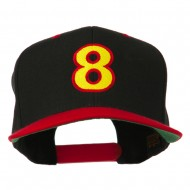 Arial Number 8 Embroidered Classic Two Tone Cap - Black Red